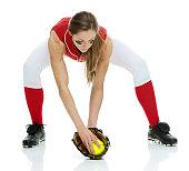 Softball player fielding