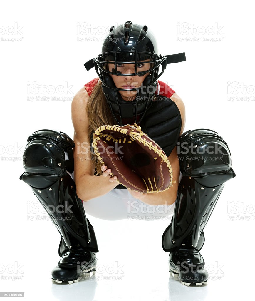 Softball player in action stock photo