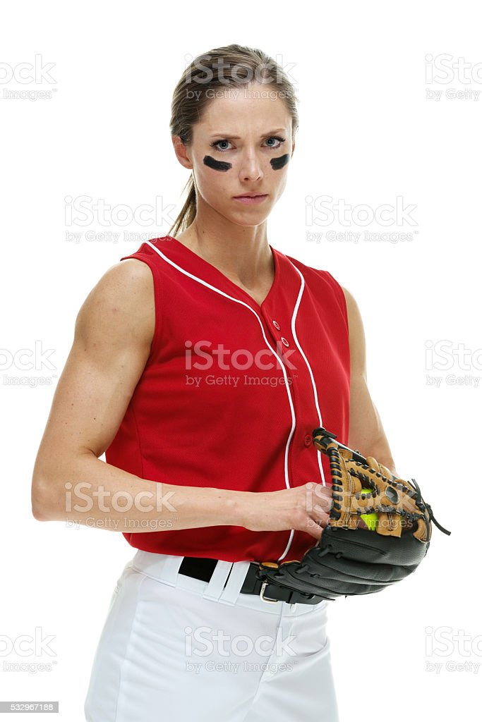 Softball player posing stock photo