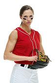 Softball player posing
