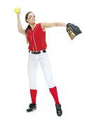 Softball player throwing