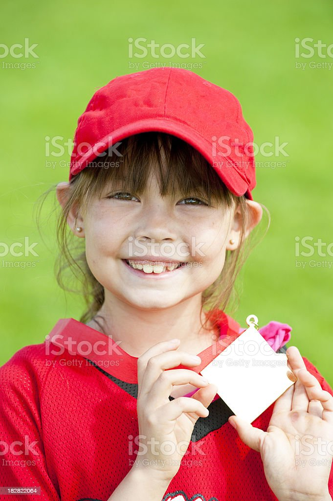 Softball Player With Medal stock photo