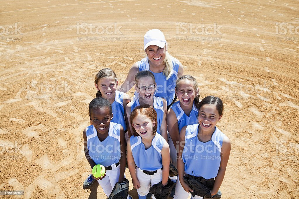 Softball players stock photo