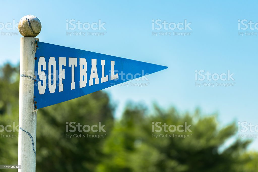 Pennant shaped sign with \'Softball\' written on it.