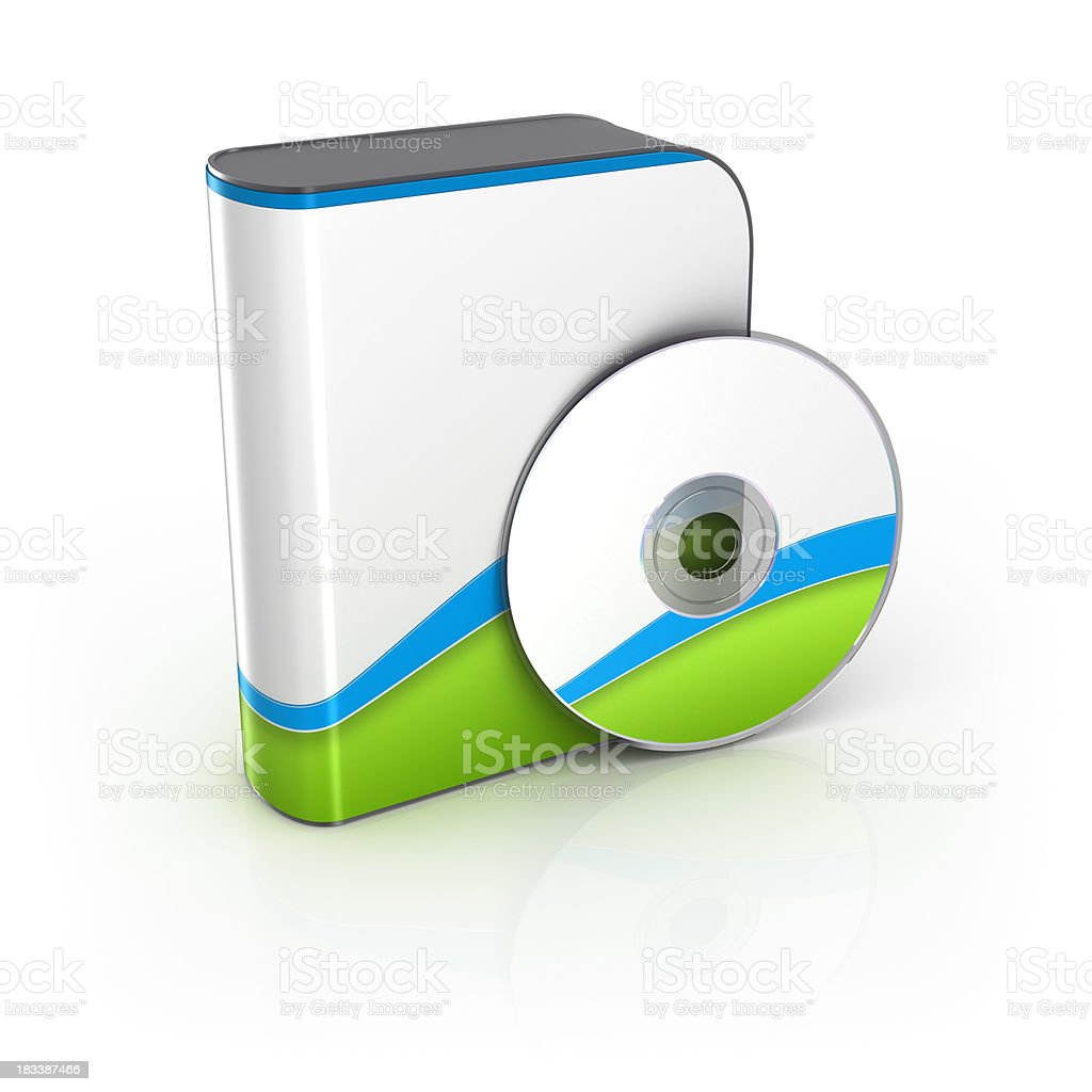 Software box with CD or DVD stock photo