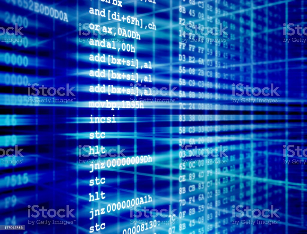Software code on a blue and white digital background stock photo