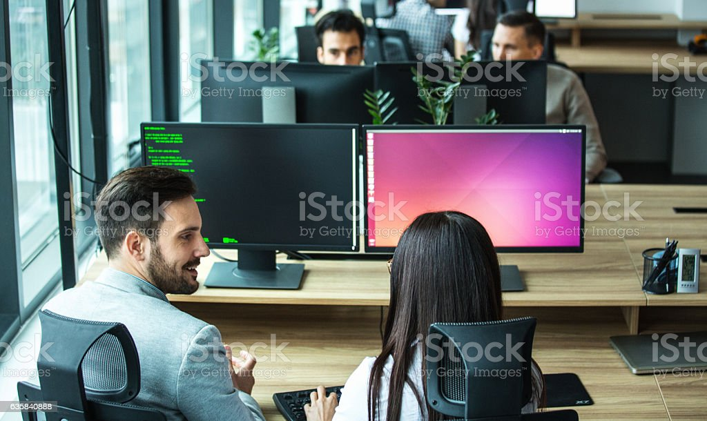 Software developing team. stock photo