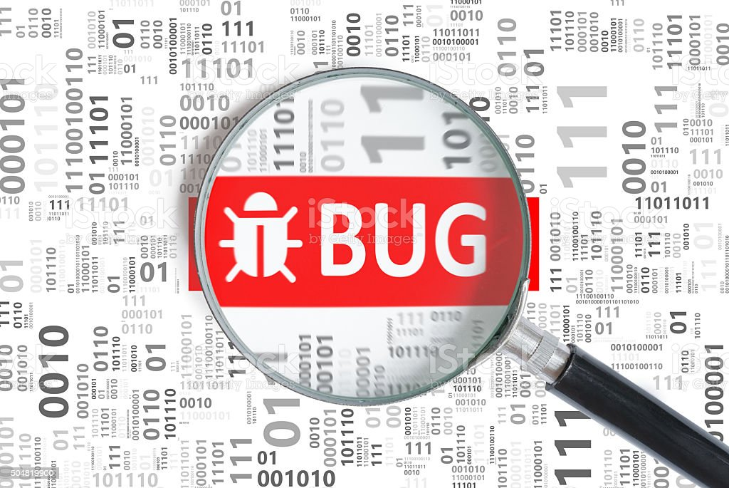 Software development and debugging concept. Bug found in binary code vector art illustration