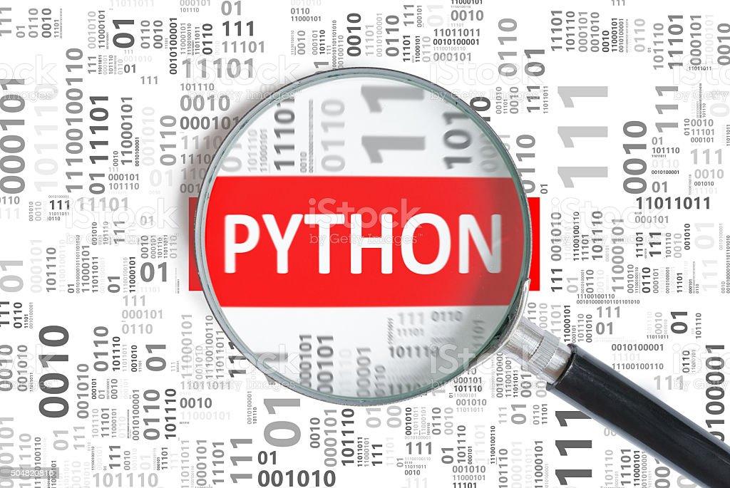 Software development concept. Python programming language stock photo