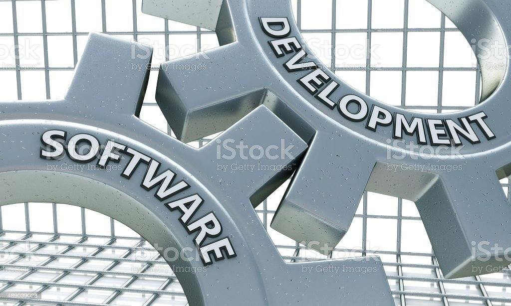 Software Development on the Mechanism of Metal Gears stock photo