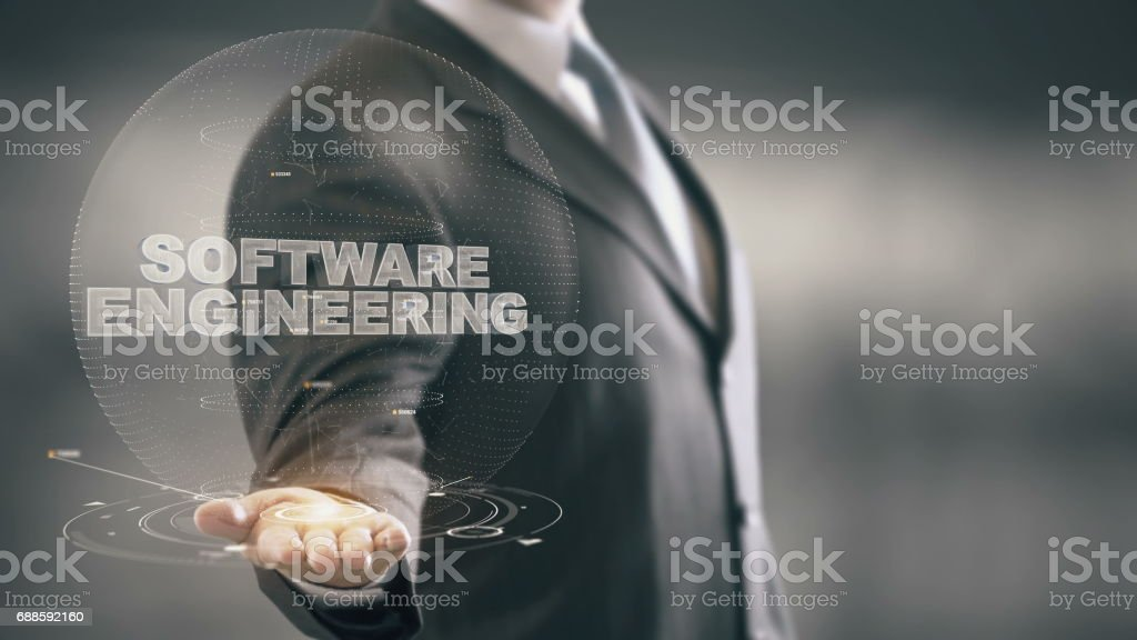 Software Engineering Businessman Holding in Hand New technologies stock photo