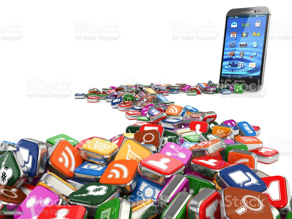 Software. Smartphone or mobile phone app icons background. stock photo