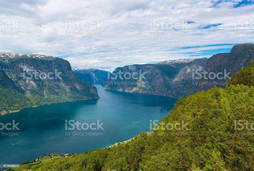 Sogne fjord in Norway stock photo