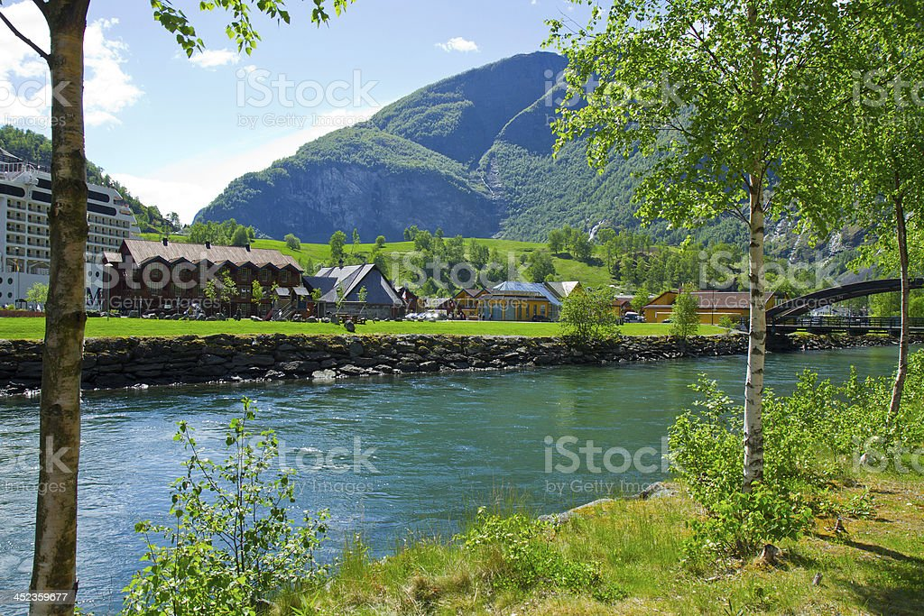 Sognefjord port in Flam Norwegian  fjord. stock photo