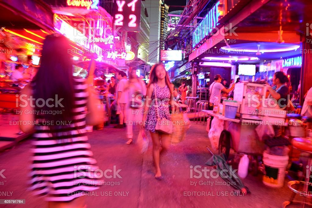 Soi Cowboy, blurred nightlife scene, Bangkok stock photo