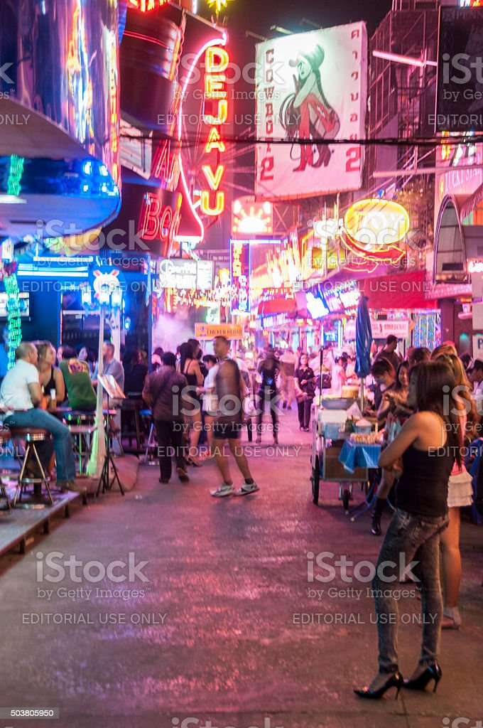 Soi Cowboy Illuminated At Night In Bangkok, Thailand stock photo