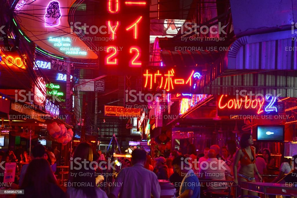 Soi Cowboy strip at night, Bangkok stock photo