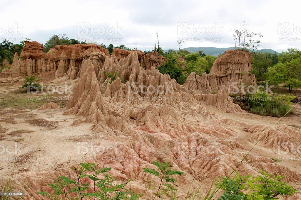 Soil cliff and corrosion at Kork Suo,Nan,Thailand stock photo