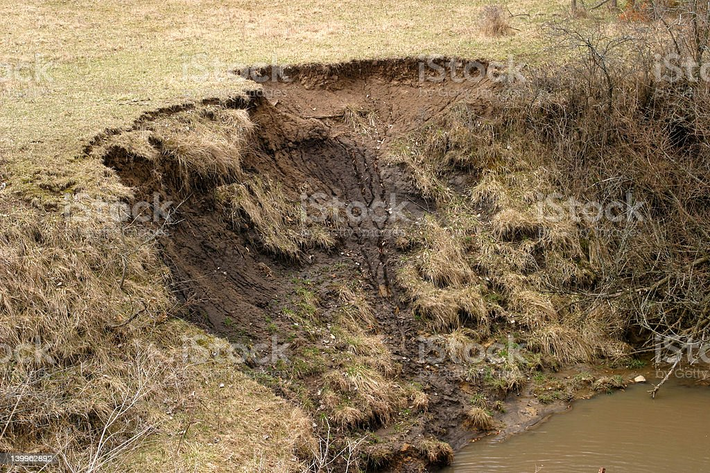Soil Erosion - close-up stock photo