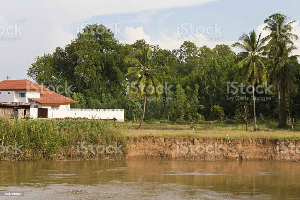 Soil erosion, coastal habitat near the river. royalty-free stock photo