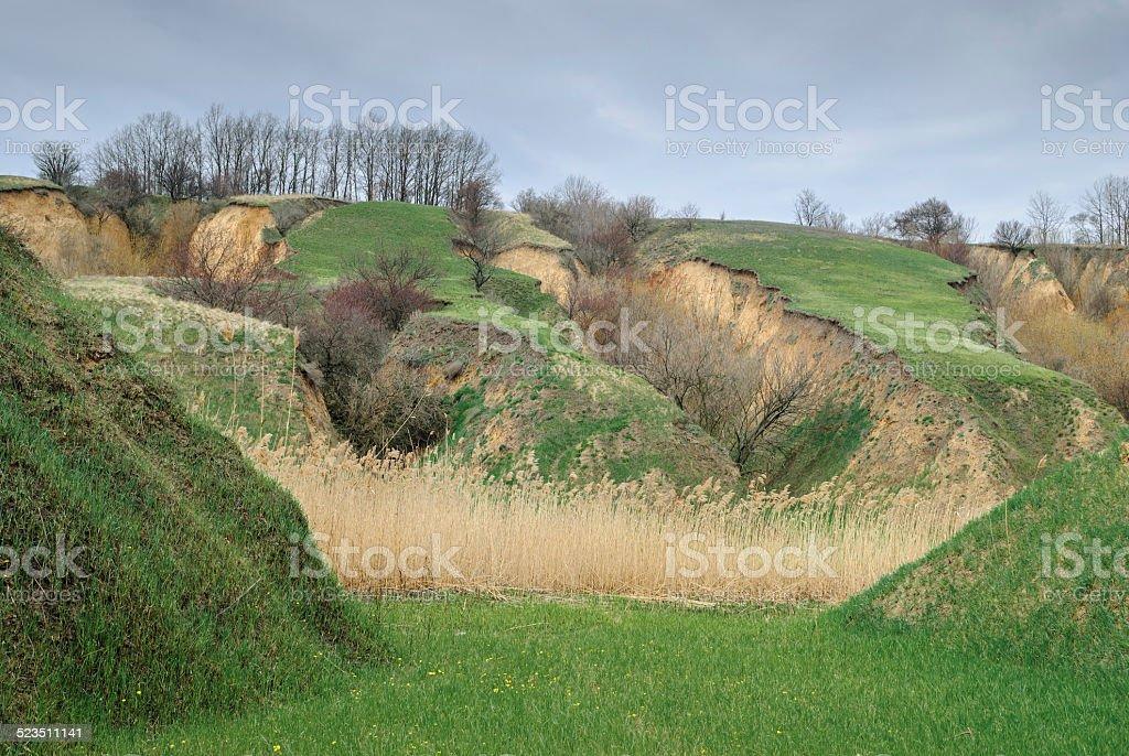 Soil erosion in Ukraine stock photo