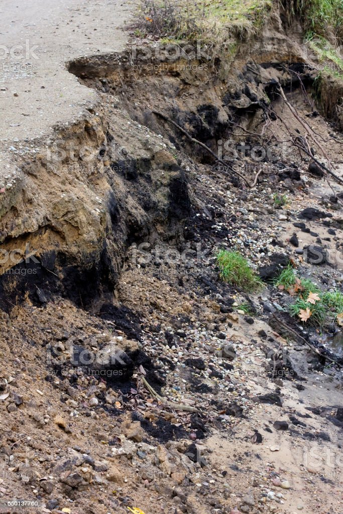 Soil erosion - the destroyed coast of the forest river closeup landscape stock photo