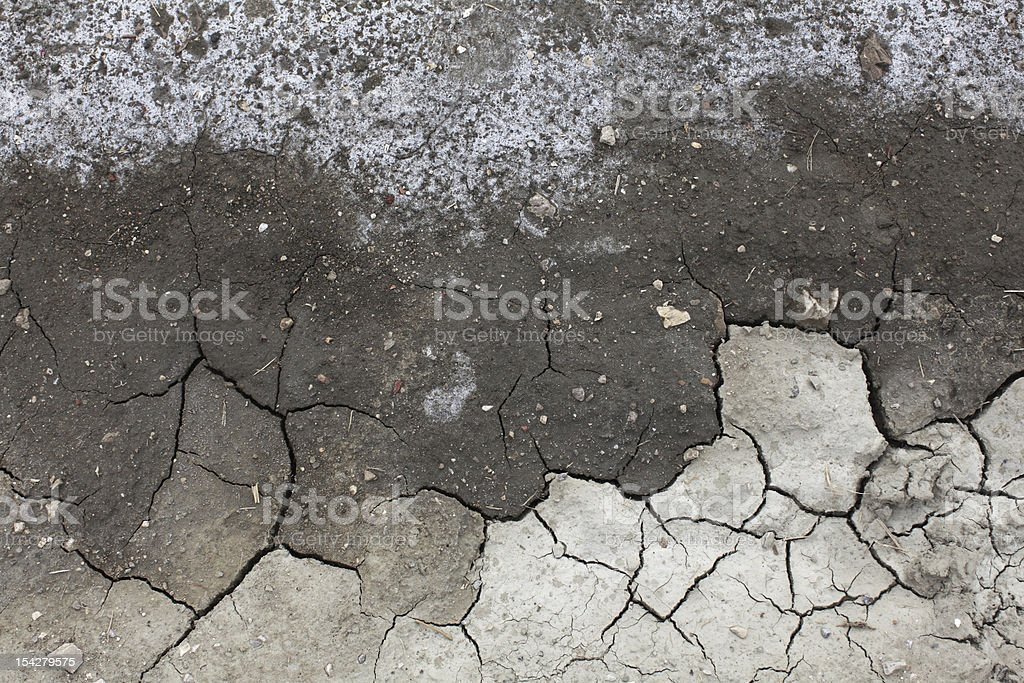 Soil salinity degradation, cracked ground royalty-free stock photo