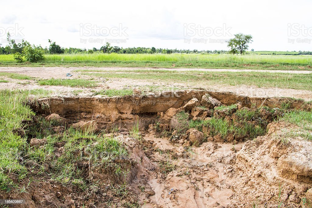 Soil to water erosion. stock photo