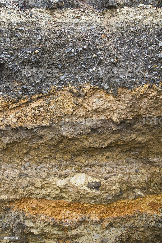 Soil under the asphalt stock photo