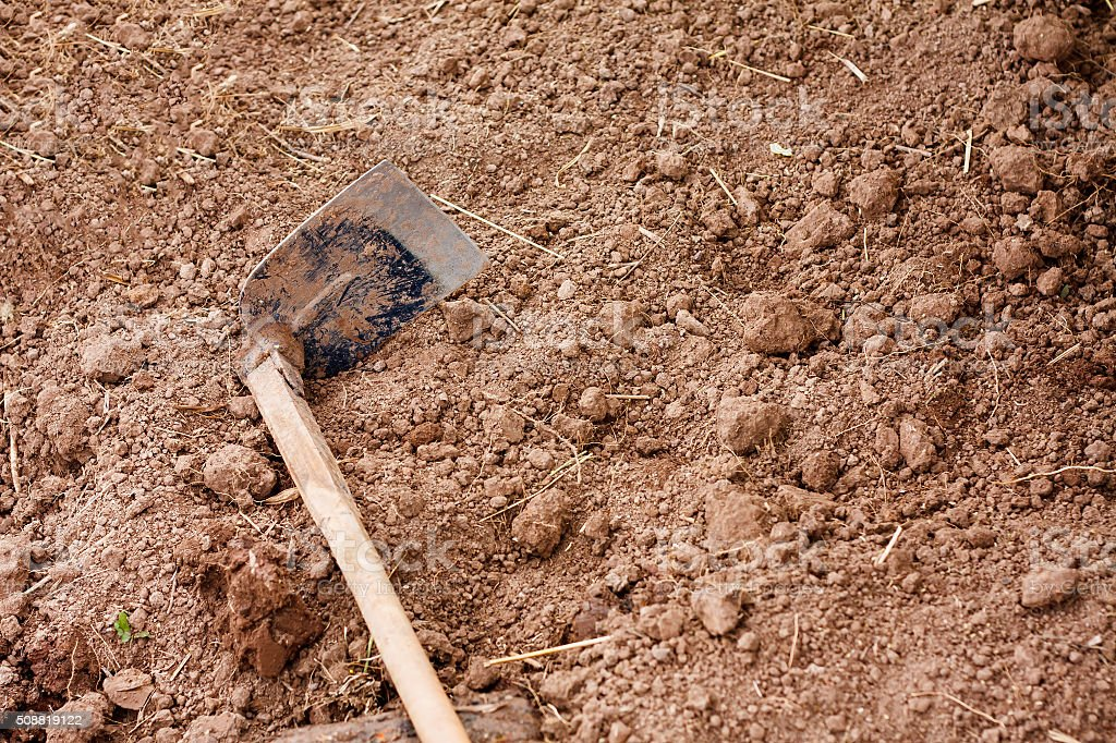 Soil with Hoe stock photo
