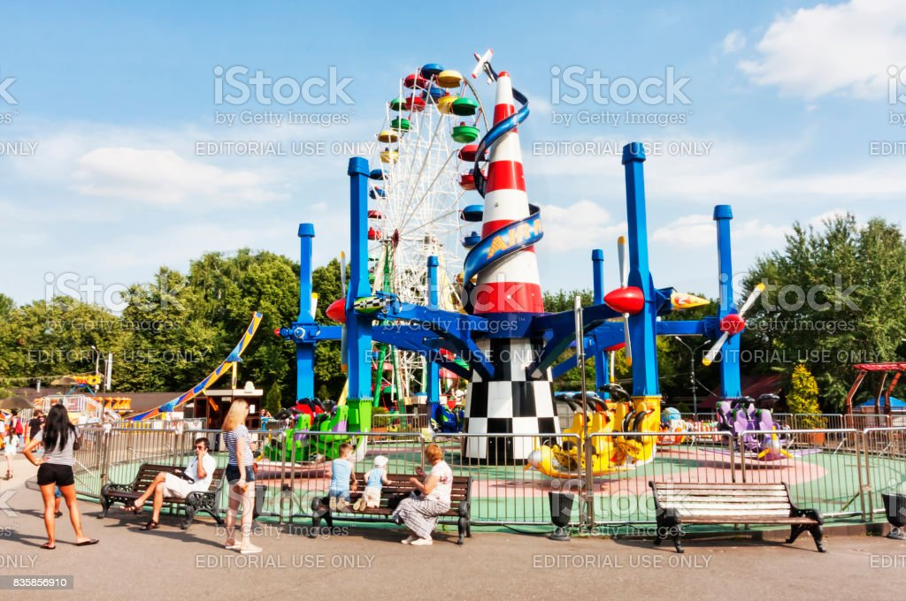 Sokolniki Park with people enjoy the attractions ride park stock photo