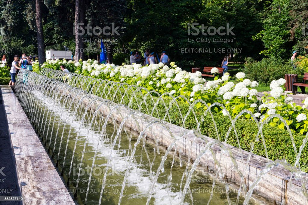 Sokolniki Park with people, tourists and Mariners of Navy army enjoy the summer day stock photo