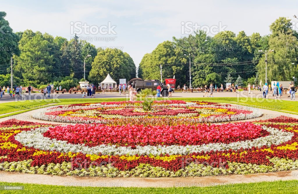 Sokolniki Park with people, tourists and Mariners of the Navy enjoy the summer day stock photo