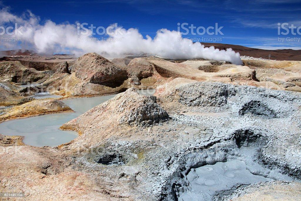 Sol de manana geyser field, Bolivia stock photo
