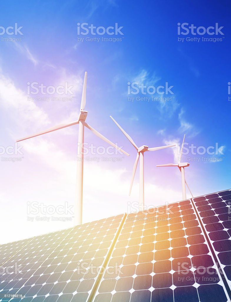 Solar and Wind Power stock photo