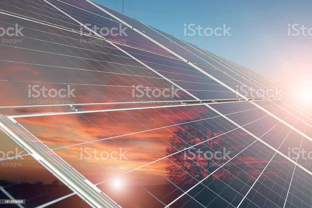 Solar battery closeup stock photo