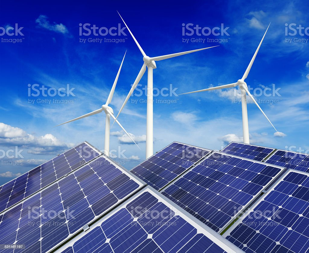 Solar battery panels and wind generators stock photo