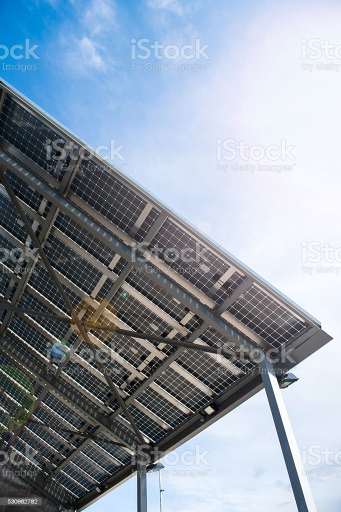 Solar battery view from below stock photo