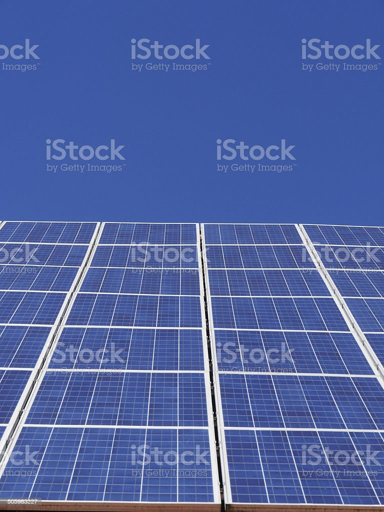 solar boards at a house stock photo