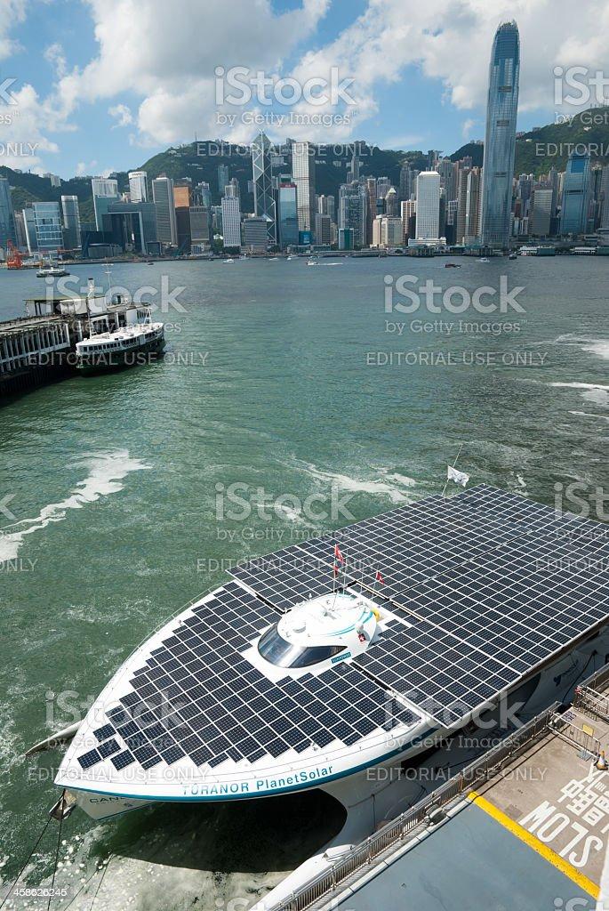 Solar Boat visit in Hong Kong royalty-free stock photo
