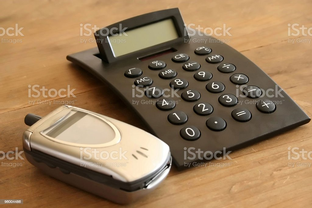 Solar Calculator and Flip Phone royalty-free stock photo