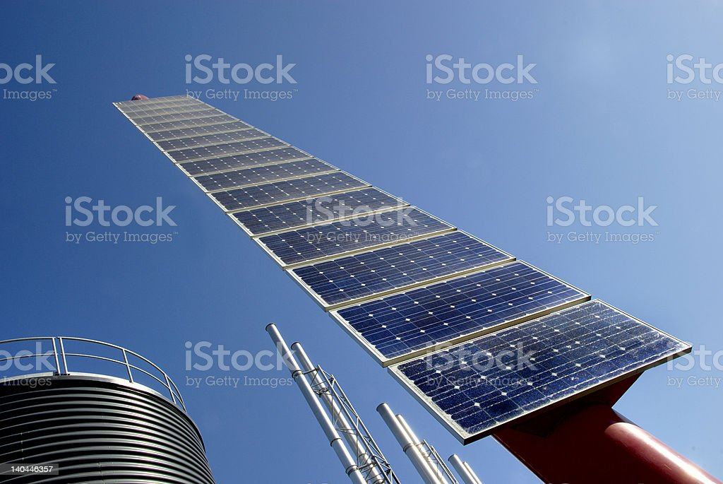Solar cell at an industrial plant royalty-free stock photo