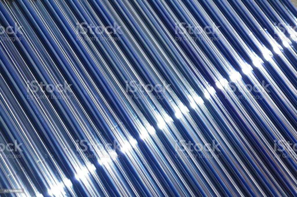 Solar cell macro with sunbeam stock photo