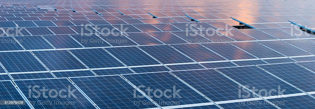 Solar cell panels in a photovoltaic power plant stock photo