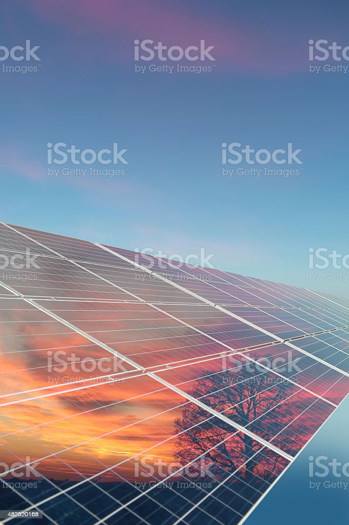 Solar cell with reflection stock photo