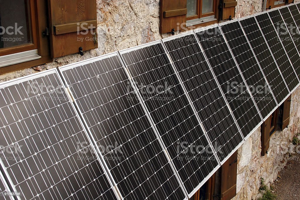 Solar cells at a house stock photo
