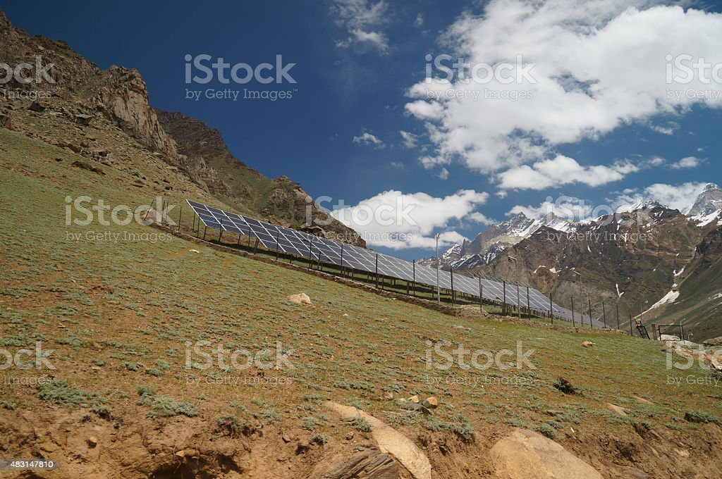 Solar cells on the hill in summer, Ladakh, India stock photo