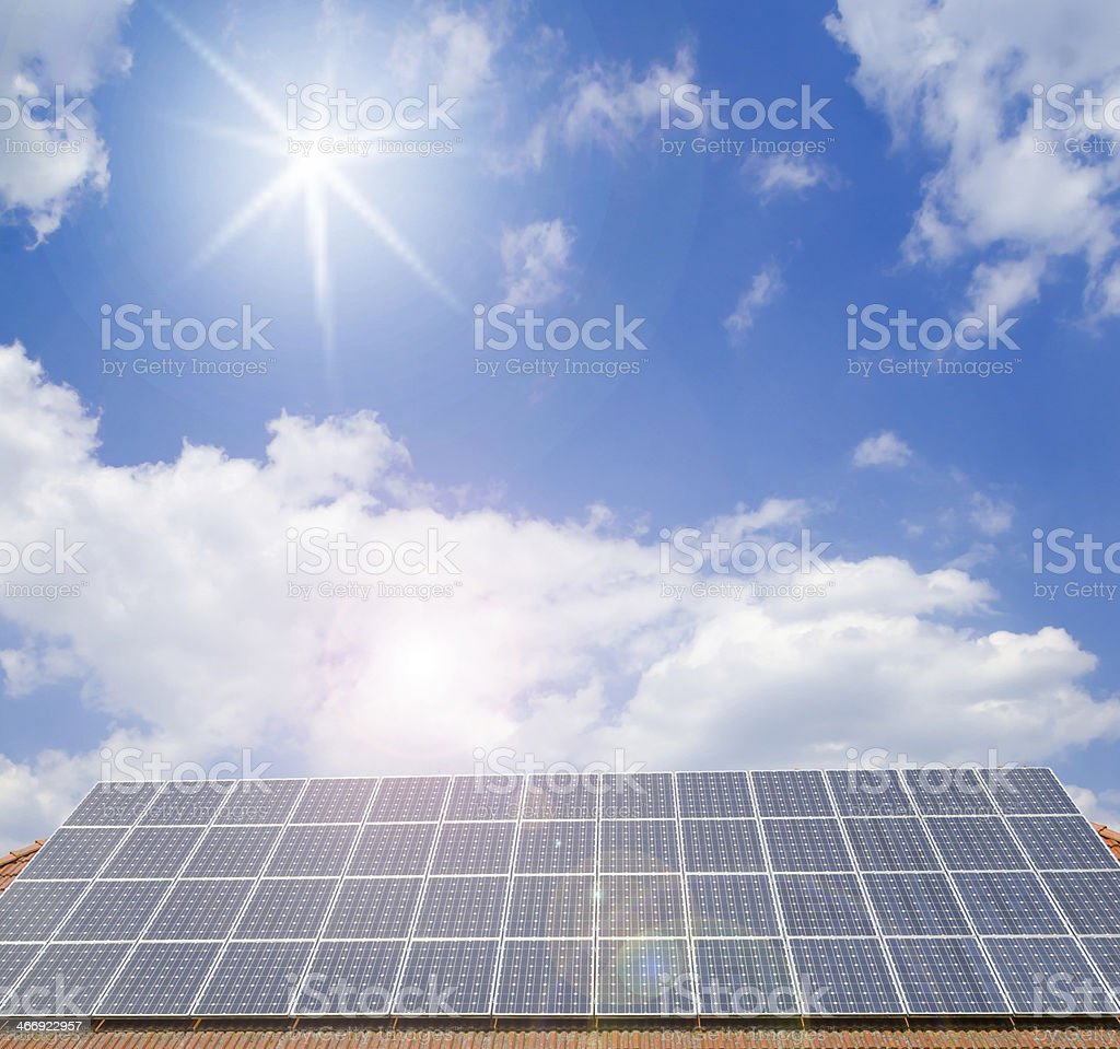 solar cells on the roof stock photo
