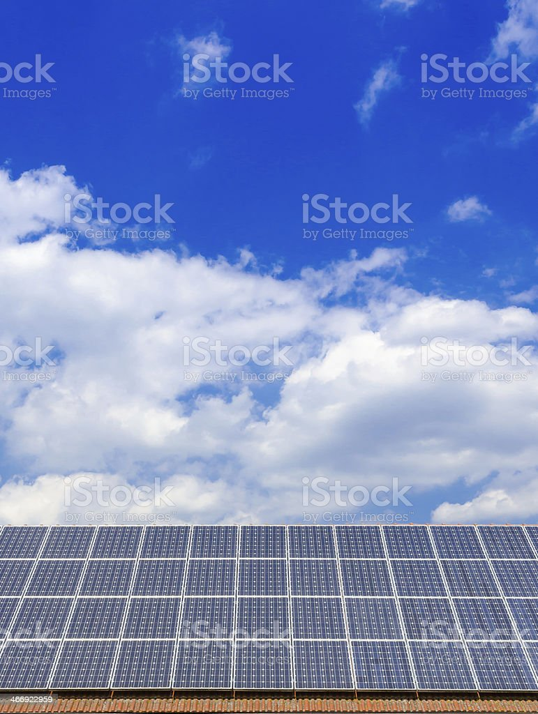 solar cells on the roof royalty-free stock photo
