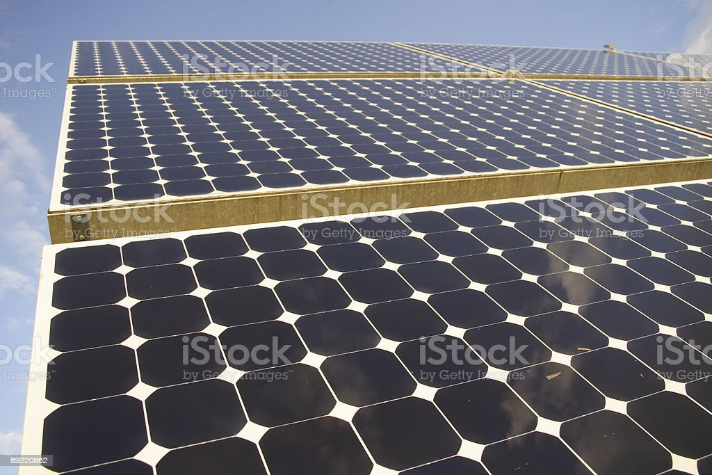 Solar collector panel stock photo